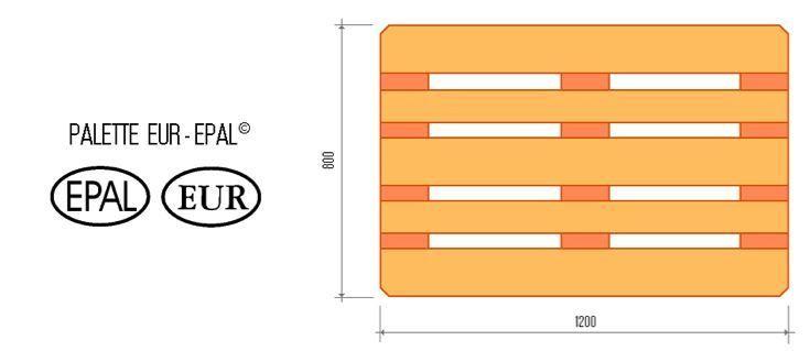 Palette europe EPAL pour chargement dans conteneur martimes